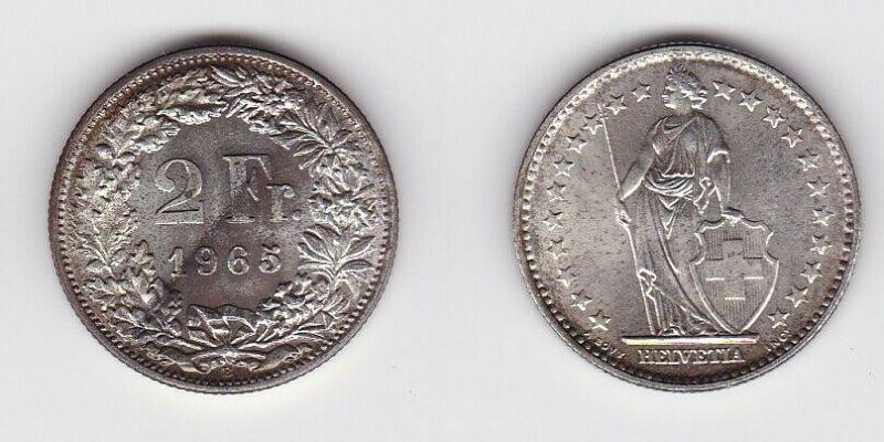 2 Franken Silber Münze Schweiz 1965 B (130475)