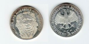 5 Mark Silber Münze Deutschland Gebrüder Humboldt 1967 F (129570)