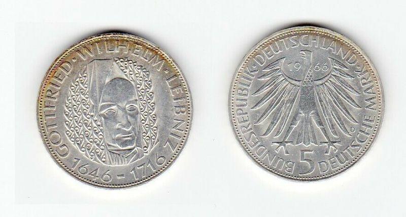 5 Mark Silber Münze Deutschland Gottfried Wilhelm Leibniz 1966 D (129292)