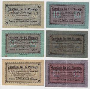 6 Banknoten Notgeld Zwirnerei und Nähfadenfabrik Göggingen 1916 (132926)