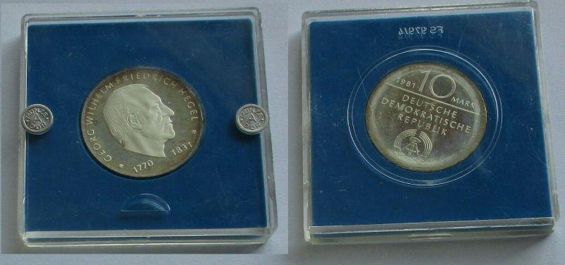 DDR Gedenk Münze 10 Mark Georg Wilhelm Friedrich Hegel Silber PP (132200)
