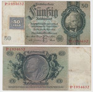 50 Mark Banknote DDR Deutsche Notenbank 1948 Kuponausgabe Ro.Nr.337 a (132114)