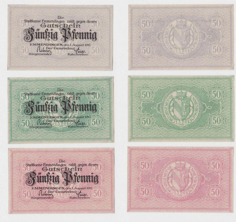 3 x 50 Pfennig Banknoten Notgeld Gemeinde Emmendingen 1917 (132436)
