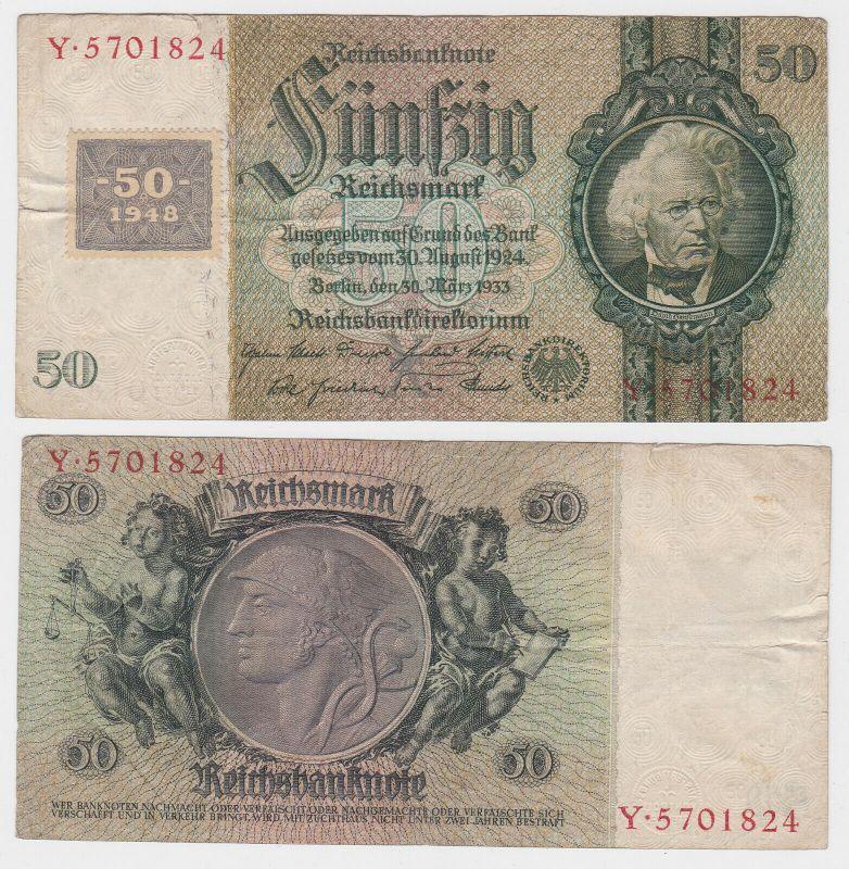 50 Mark Banknote DDR Deutsche Notenbank 1948 Kuponausgabe Ro.Nr.337 a (132159)