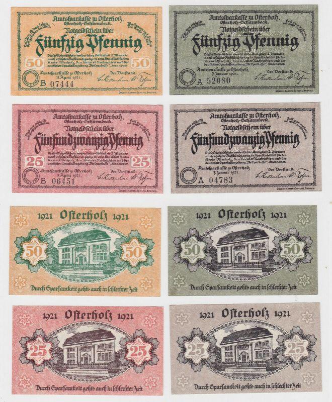 2 x 25 & 2 x 50 Pfennig Banknoten Notgeld Amtssparkasse Osterholz 1921 (132770)