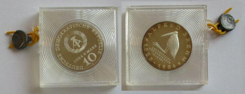 DDR Gedenk Münze 10 Mark Alfred Brehm 1984 PP (132311)