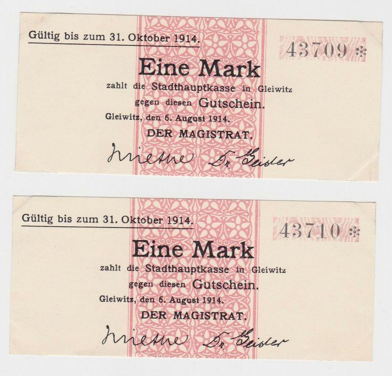 2 x 1 Mark Banknoten Notgeld Stadthauptkasse Gleiwitz 1914 (132795)