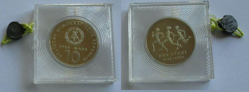 DDR Gedenk Münze 10 Mark 40 Jahre DDR Sport 1988 PP verplombt (131964)