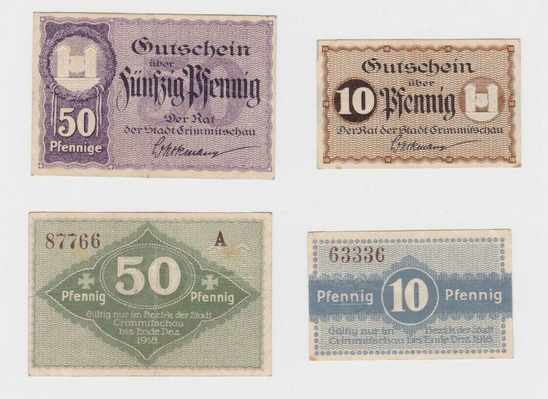 10 & 50 Pfennig Banknoten Notgeld Stadt Crimmitschau 1918 (132770)