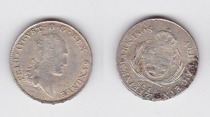 1/6 Taler Silber Münze Sachsen Friedrich August I. 1808 (129524)
