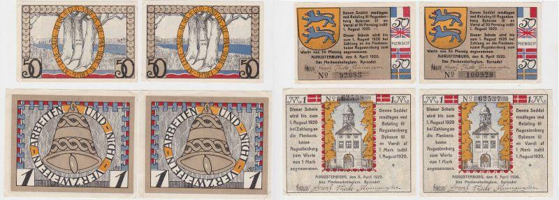 4 Banknoten Notgeld Stadt Augustenburg Dänemark 8.4.1920 (131674)