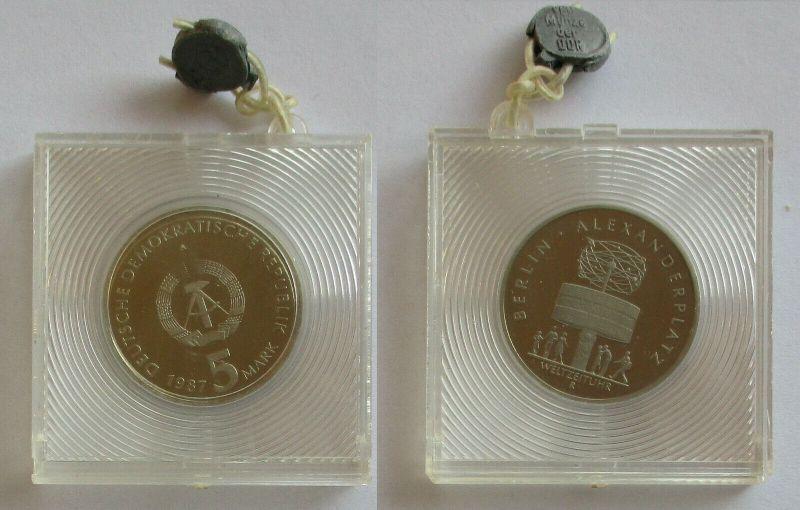 DDR Gedenk Münze 5 Mark 750 Jahre Berlin Alexanderplatz 1987 PP (131623)