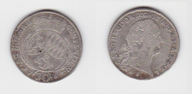 10 Kreuzer Silber Münze Pfalz Kurlinie 1764 A.S. (130255)