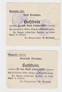 2 x 1 Mark Banknoten Notgeld Gemeinde Dinslaken 1914 (133072)