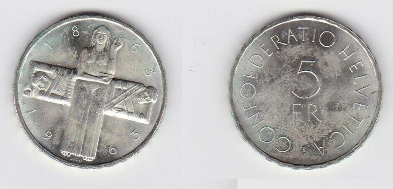 5 Franken Münze Schweiz 1963 100 Jahre Internationales Rotes Kreuz (131582)