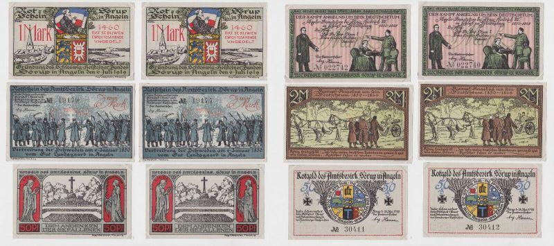 2x 50 Pfennig, 1 & 2 Mark Banknoten Notgeld Amtsbezirk Sörup 1920 (132684)