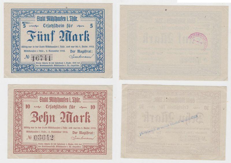 5 & 10 Mark Banknoten Notgeld Stadt Mühlhausen in Thüringen 1918 (133072)