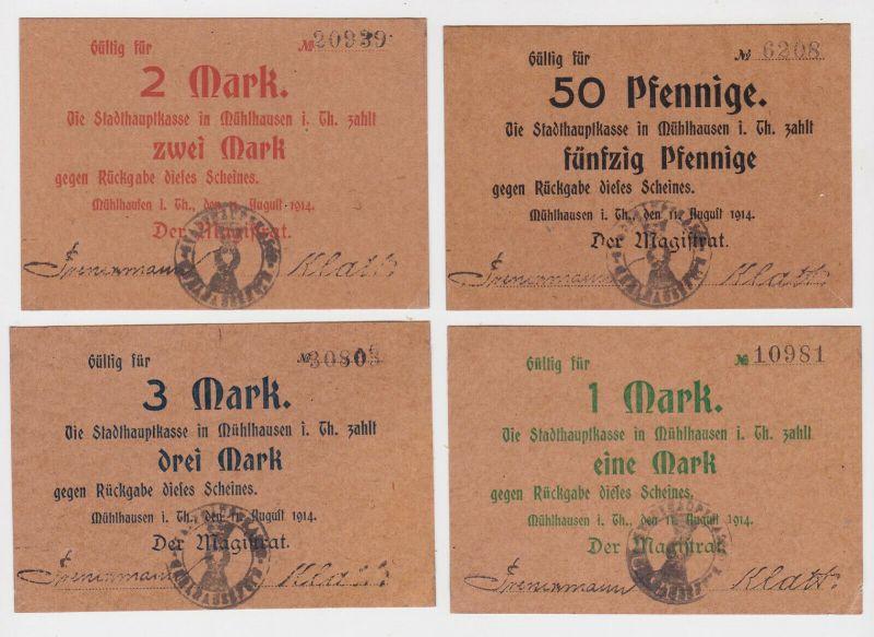 4 Banknoten Notgeld Stadthauptkasse Mühlhausen in Thüringen 1914 (133072)