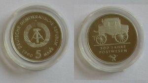 DDR Gedenk Münze 5 Mark 500 Jahre Postwesen 1990 PP (131960)