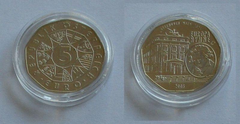 5 Euro Silber Münze Österreich 2005 Europa Hymne Beethoven Wien 1824 (131945)