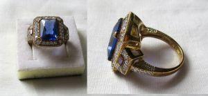 Exklusiver 925er Sterling Silber Damenring mit großem blauen Stein (133050)