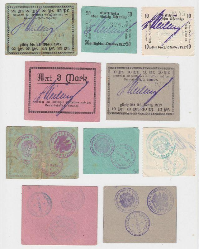 5 Banknoten Notgeld Landgemeinde Scharley Oberschlesien 1917 (132952)