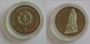 DDR Gedenk Münze 5 Mark Ernst Barlach 1988 PP (132096)