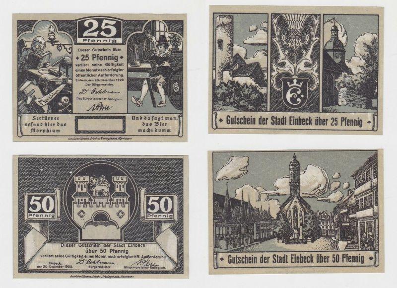 25 & 50 Pfennig Banknoten Notgeld Stadt Einbeck 1920 (133185)