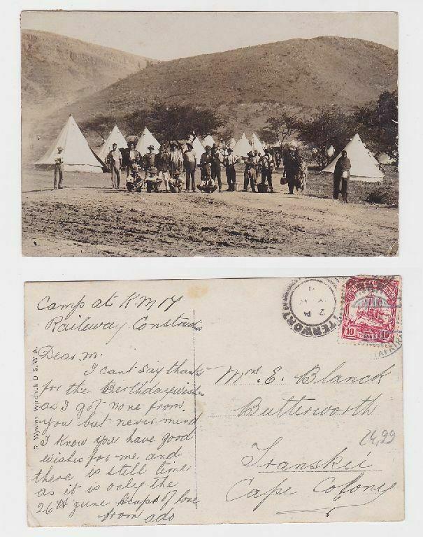 69808 Foto Ak DSWA Camp des Eisenbahnbautrupp 1911
