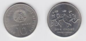 DDR Gedenk Münze 10 Mark 40 Jahre DDR Sport 1988 (127191)