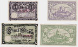 1 & 5 Mark Banknoten Notgeld Landkreis Cochem 19.11.1918 (133162)
