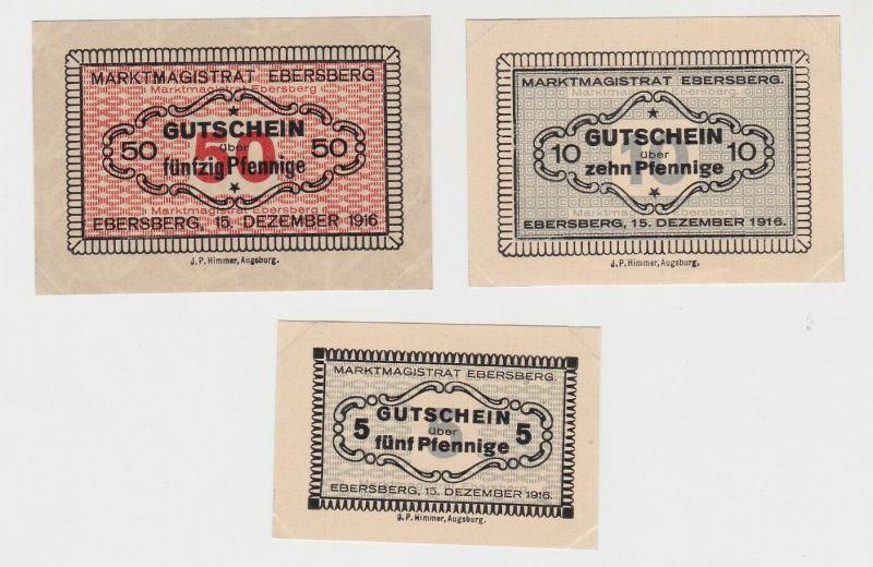 5, 10 & 50 Pfennig Banknoten Notgeld Marktmagistrat Ebersberg 1916 (133185)