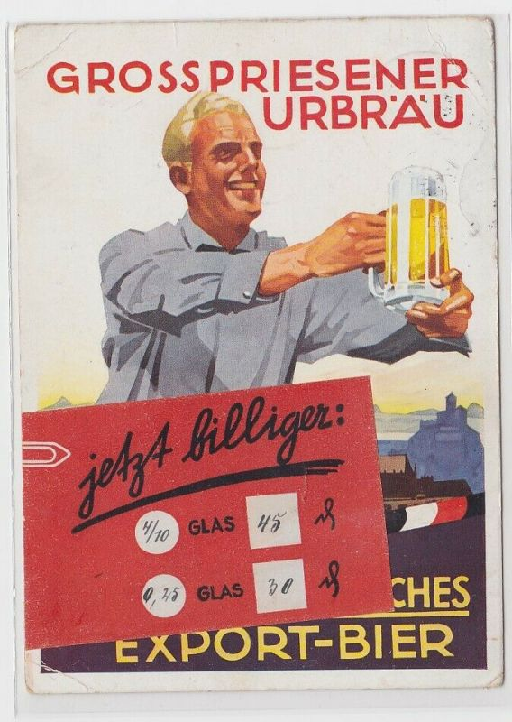67663 Reklame AK Grosspriesener Urbräu Export-Bier - jetzt billiger 1939