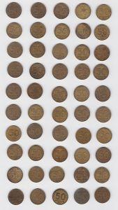 DDR: 50 x 50 Pfennig Messing Münzen alle von 1950 !!! (132895)