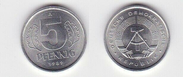 5 Pfennig Aluminium Münze DDR 1989 Stempelglanz (130716)