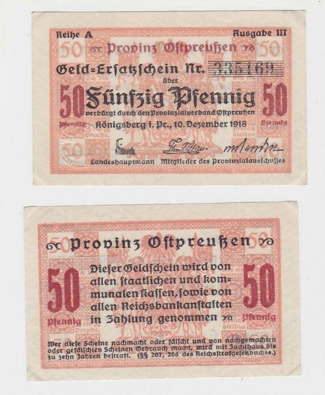 50 Pfennig Banknote Notgeld Stadt Königsbergn Ostpreussen 1918 (131934)