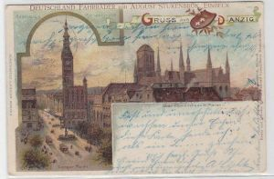 55645 Fahrrad Reklame Ak Gruß aus Danzig Marienkirche 1900