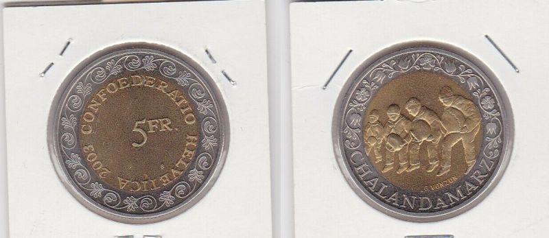 5 Franken Münze Schweiz 2003 Chalandamarz Stempelglanz (131069)