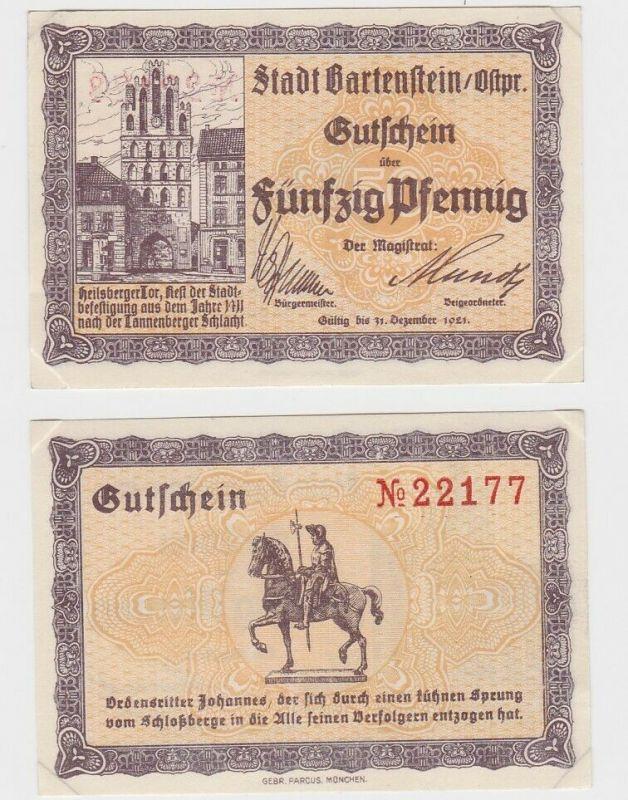 50 Pfennig Banknote Notgeld Stadt Bartenstein Ostpreussen 1921 (132414)