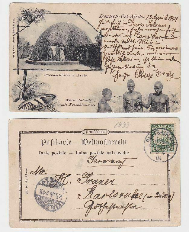 55612 Mehrbild Ak Deutsch Ost Afrika Ruanda Hütten und Leute 1904