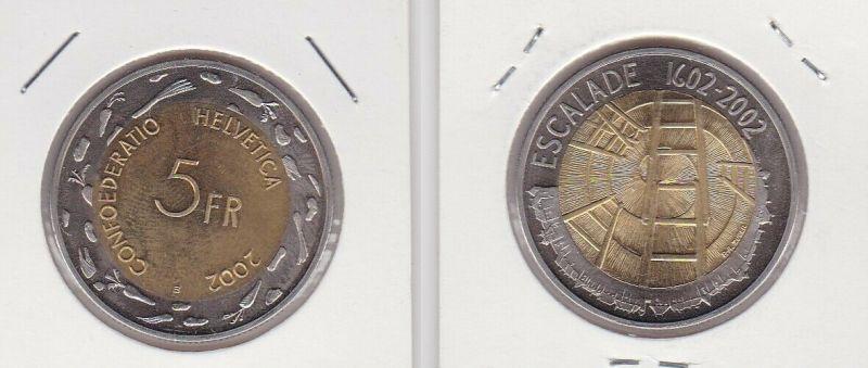 5 Franken Münze Schweiz 2002 Escalade 1602-2002 Stempelglanz (131072)