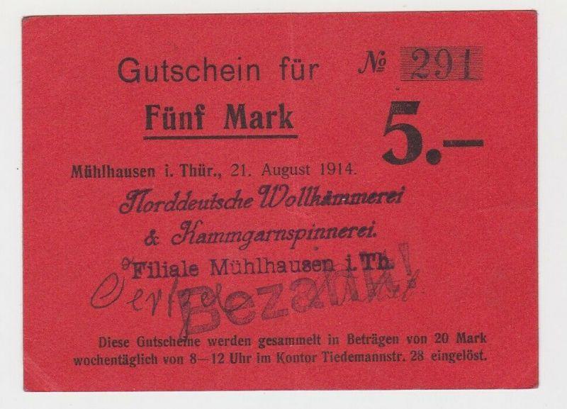 5 Mark Banknote Notgeld Mühlhausen Wollkämmerei 1914 (132935)