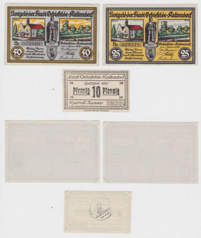 3 Banknoten Notgeld Stadt Oebisfelde Kaltendorf 1921 (132885)