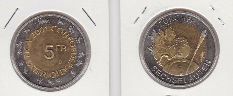 5 Franken Münze Schweiz 2001 Zürcher Sechseläuten Stempelglanz (131080)