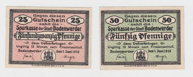 25 & 50 Pfennig Banknoten Stadt Bodenwerder 1.Juni 1918  (132416)