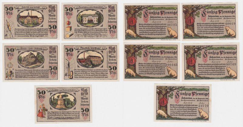 5 Banknoten Notgeld Marktflecken Schweina 20.9.1921 (120417)
