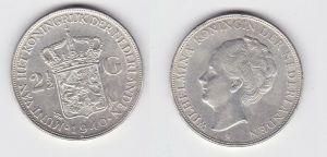 2 1/2 Gulden Silber Münze Niederlande 1940 (131188)