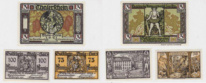 3 Banknoten Notgeld Stadt Thale am Harz 1921 (132583)