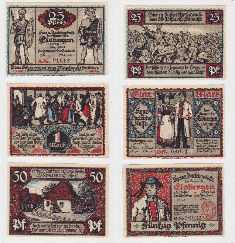 25, 50 & 100 Pfennig Banknoten Notgeld Gemeinde Eisbergen 1921 (132915)