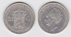 2 1/2 Gulden Silber Münze Niederlande 1930 (130982)